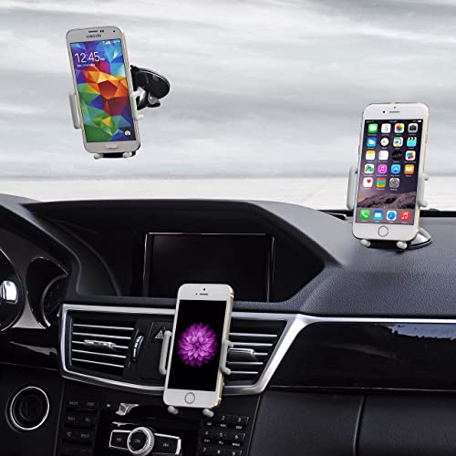 Best Car Phone Holder, Golden Colours Super 3 in 1 Universal Cell Phone Car Cradle & Mount Fits iPhone & Other Popular Brands - 3 Mounting Options - 360 Degree Rotation - A Perfect Gift for a Great Price.