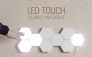 M Shop Pack of 10 M Hexagon Modular Touch Lights Led Touch Sensitive Wall Light Geometric Assembly Wall Lamp with Detachable Magnet for Home Decor