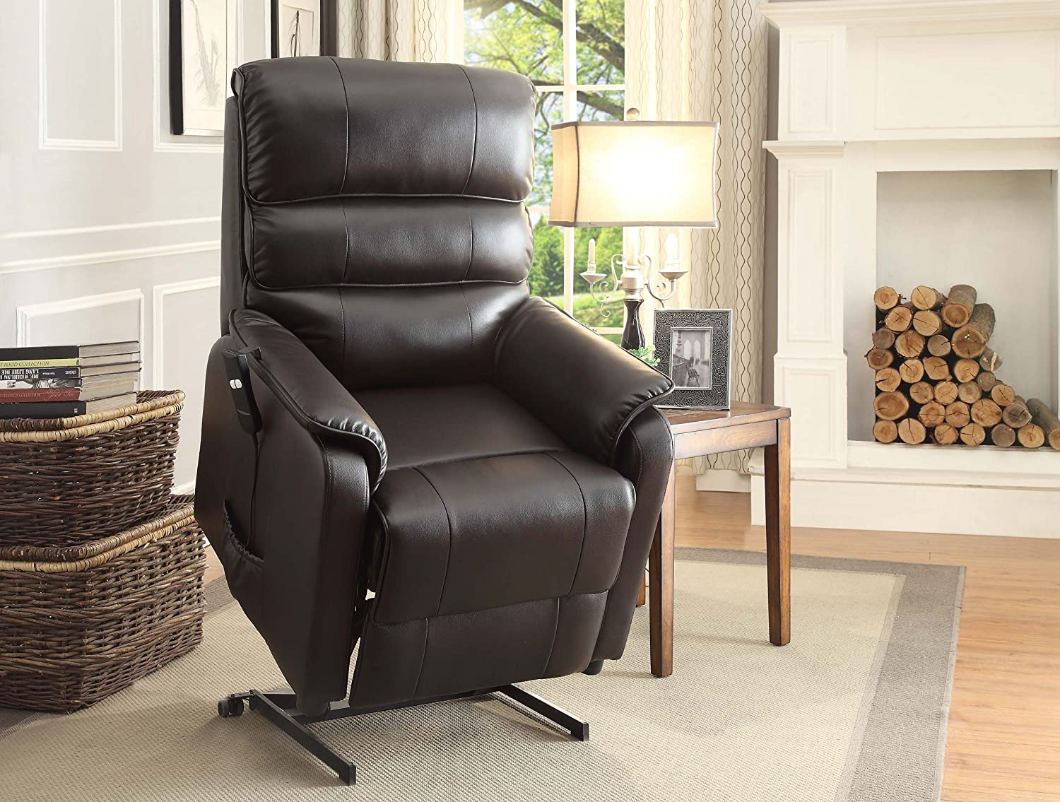 Amazon.com Homelegance Kellen Power Lift Bonded Leather Recliner Dark Brown Kitchen u0026 Dining & Amazon.com: Homelegance Kellen Power Lift Bonded Leather Recliner ... islam-shia.org
