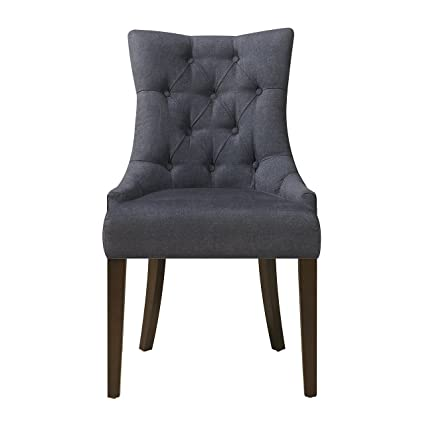 Pulaski Upholstered Button Tufted Dining Chair, Blue Dark Wash Denim