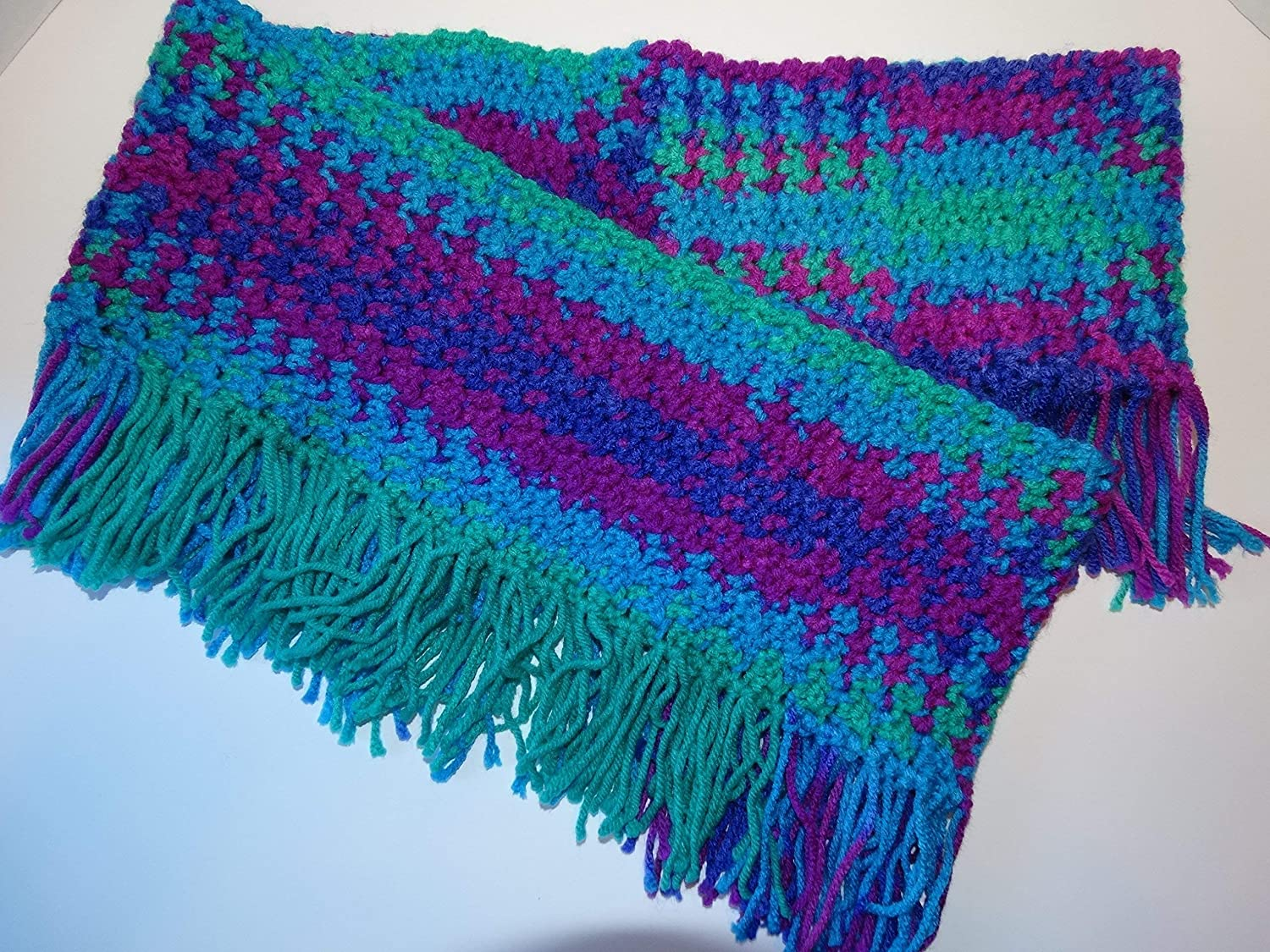 Amazon New Hand Crocheted Infinity Scarf With Fringe Multi