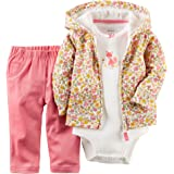 Carters Baby Girls 3-pc. Floral Fox Hoodie Set - Newborn - Pink/yellow/white