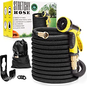 "Expandable Garden Hose 75 ft | Lightweight Water Hose 75 ft | Never Kink Garden Hose 75 ft | Black Leak Proof Retractable Hose 75 feet | Solid 3/4"" Brass Connectors 