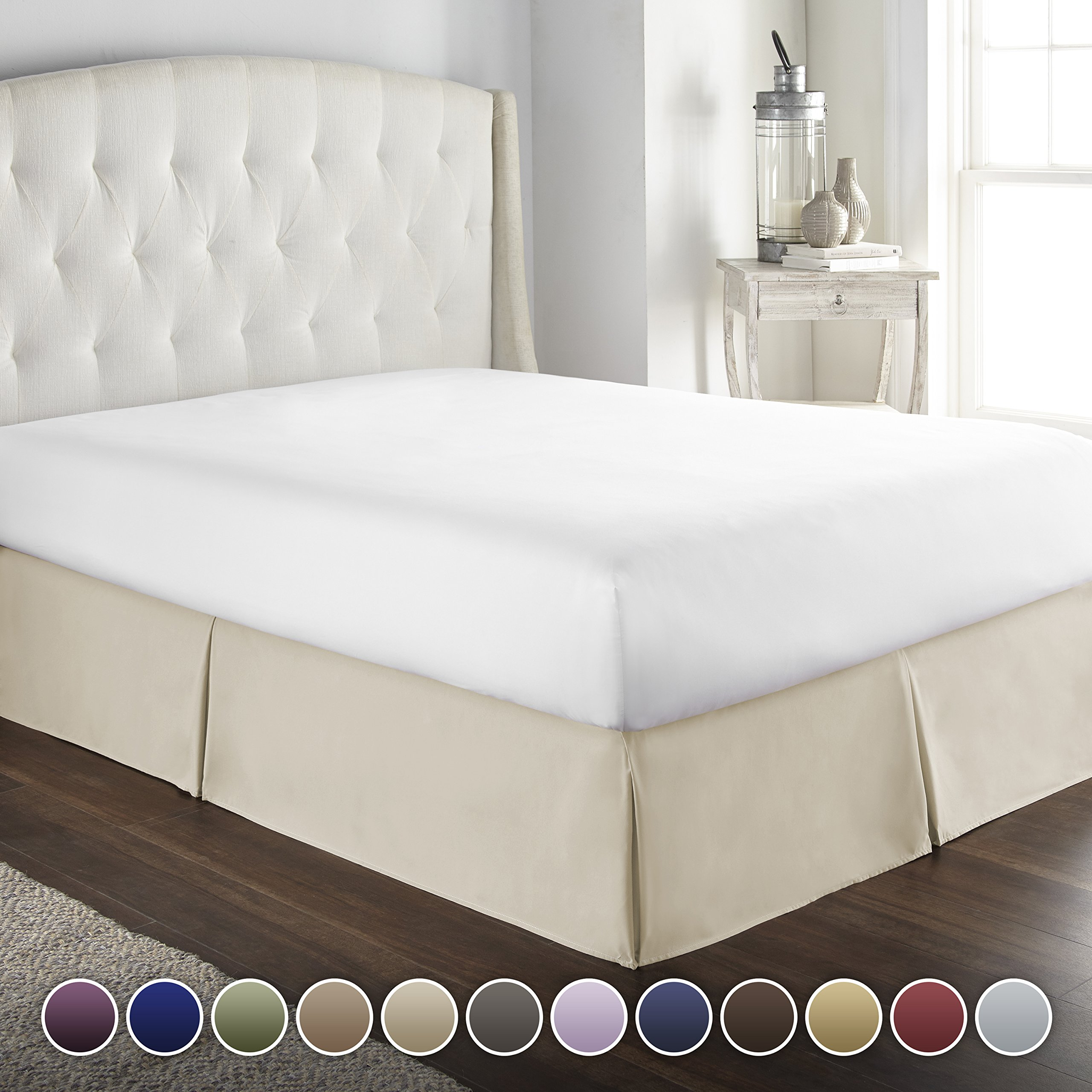 HC COLLECTION Hotel Luxury Bed Skirt/Dust Ruffle 1800 Platinum Collection-14 inch Tailored Drop, Wrinkle & Fade Resistant, Linens (Full, Cream)