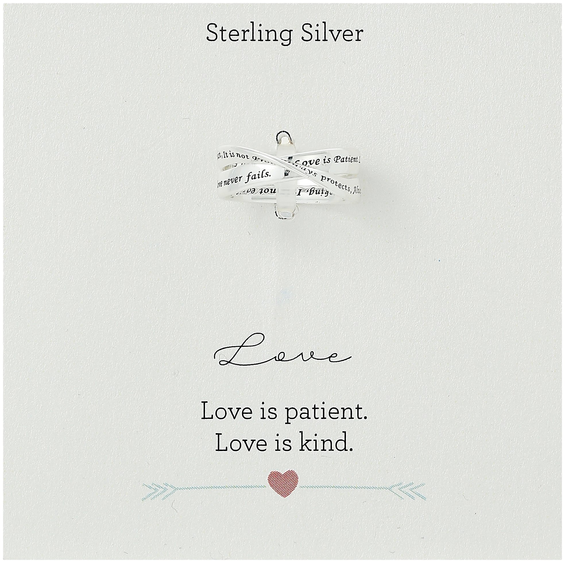Sterling Silver Engraved with ''Love Is Patient, Love Is Kind'' Message Ring