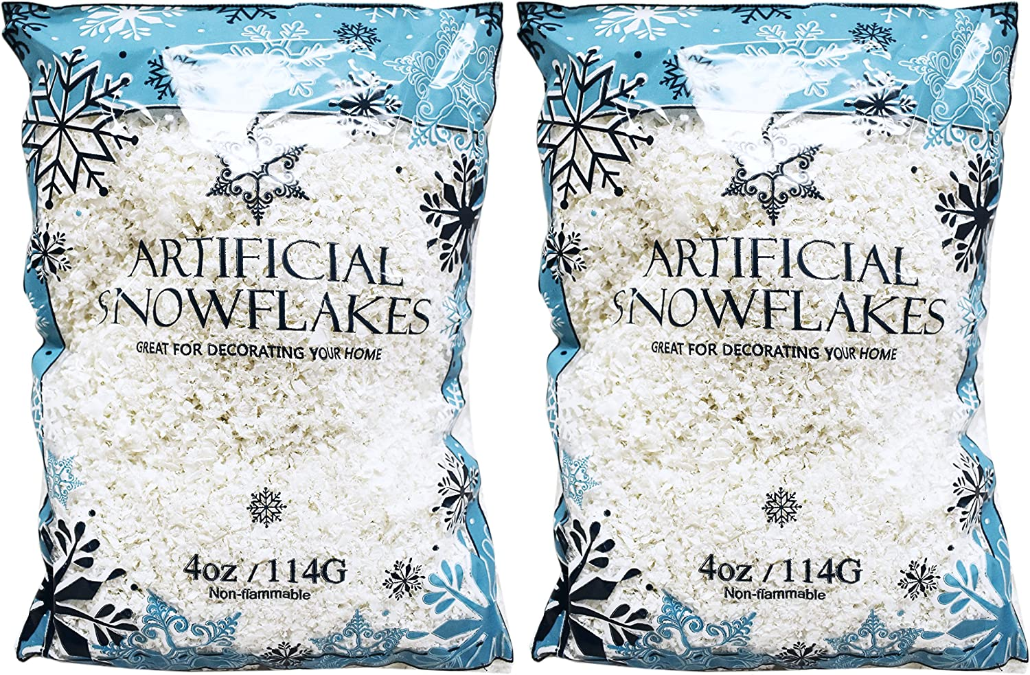 Black Duck Brand Set of 2 Artificial Snow 4 Oz Bags! - Festive Faux Snow for Crafts, Christmas, and Decor! - Great for Setting up Winter Displays and Adding to Decorations!
