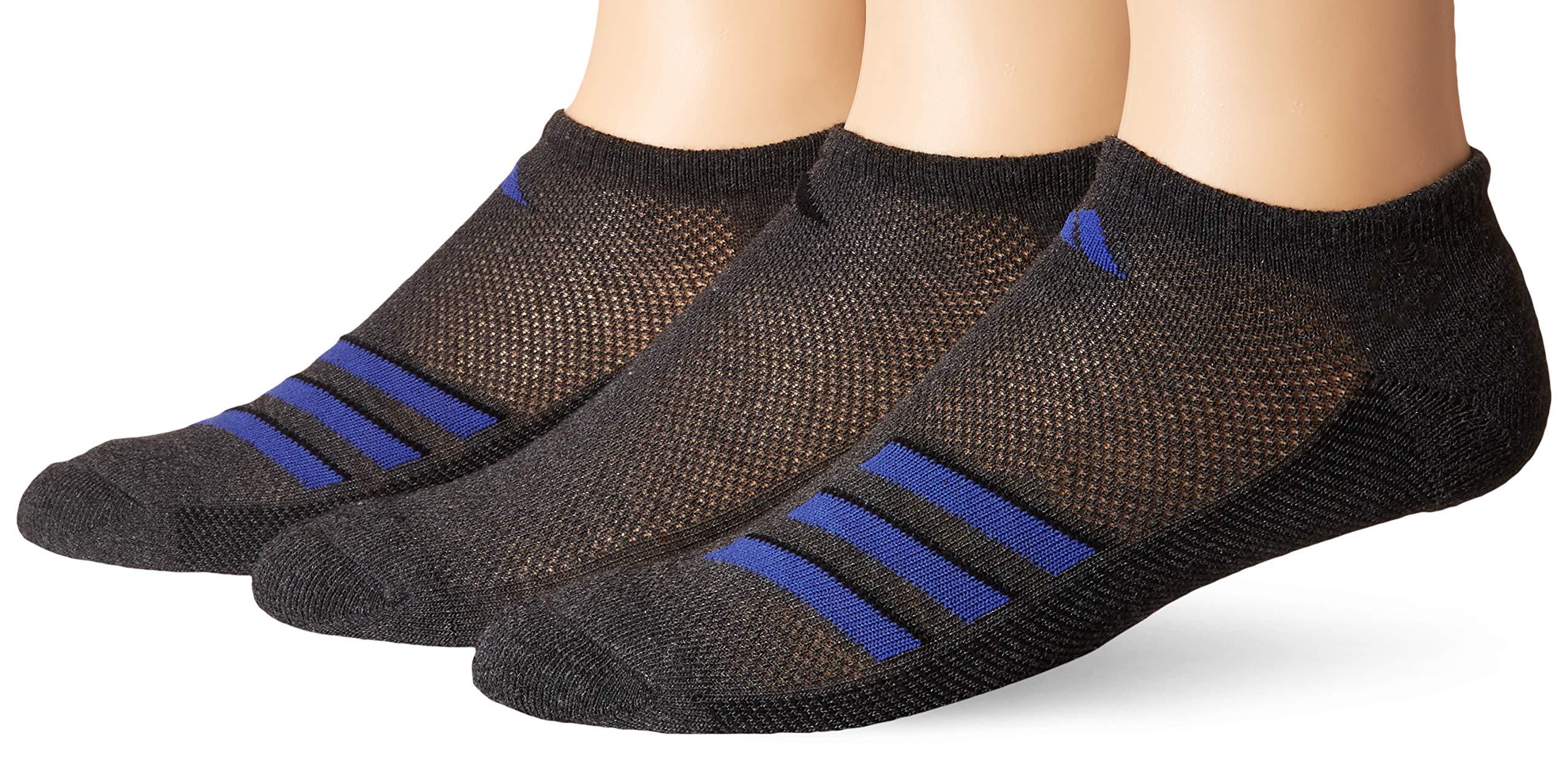 adidas Men's Climacool Superlite No Show Socks (3-Pack), Dark Grey Heather/Black/Active Blue, 6-12