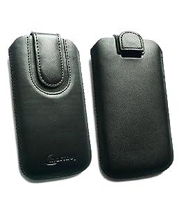 Emartbuy® LG G2 D802 Nero/Nero Premium Cuoio Slide Custodia/Case/Custodia/Supporto (Formato 4XL) con Pull Tab E Protezione dello Schermo LCD