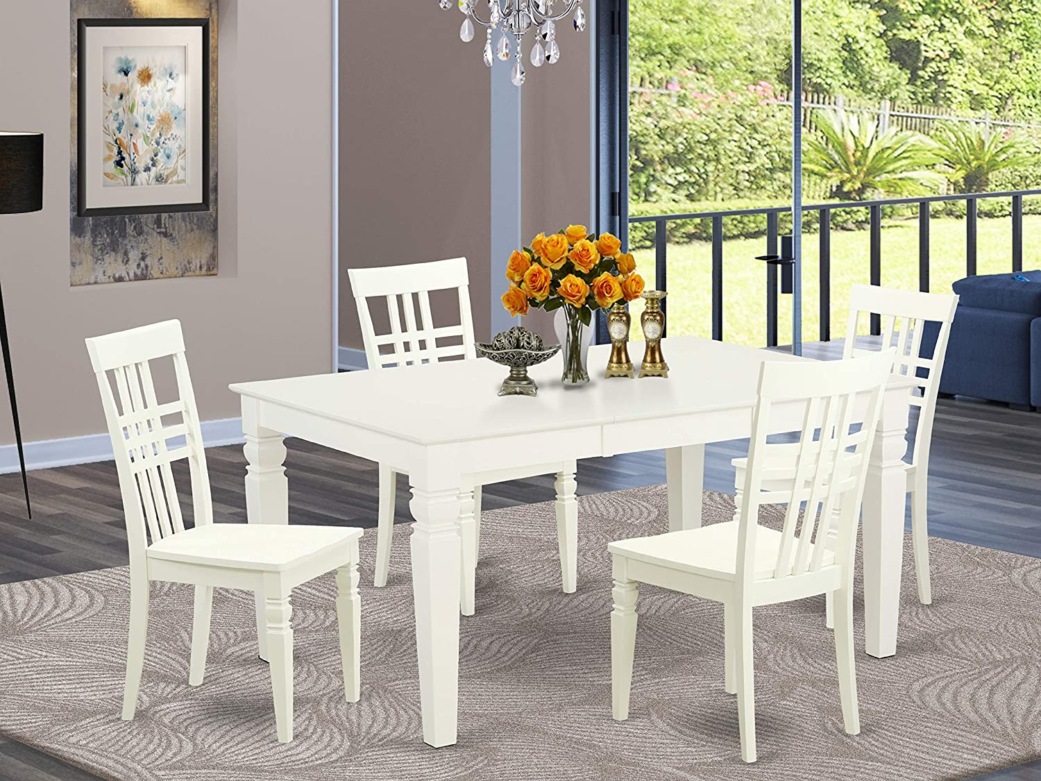 5 Pcrectangular Table and 4 Wood Chairs for Dining room in Linen White