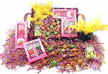 Mothers Day Baron Chocolatier Gourmet Gift Basket - Truffles Chocolate Candy, Flowers, Candle,