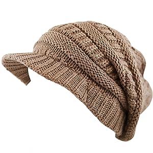 The Hat Depot Unisex Long Slouchy Knit Visor Beanie Hat (Khaki)