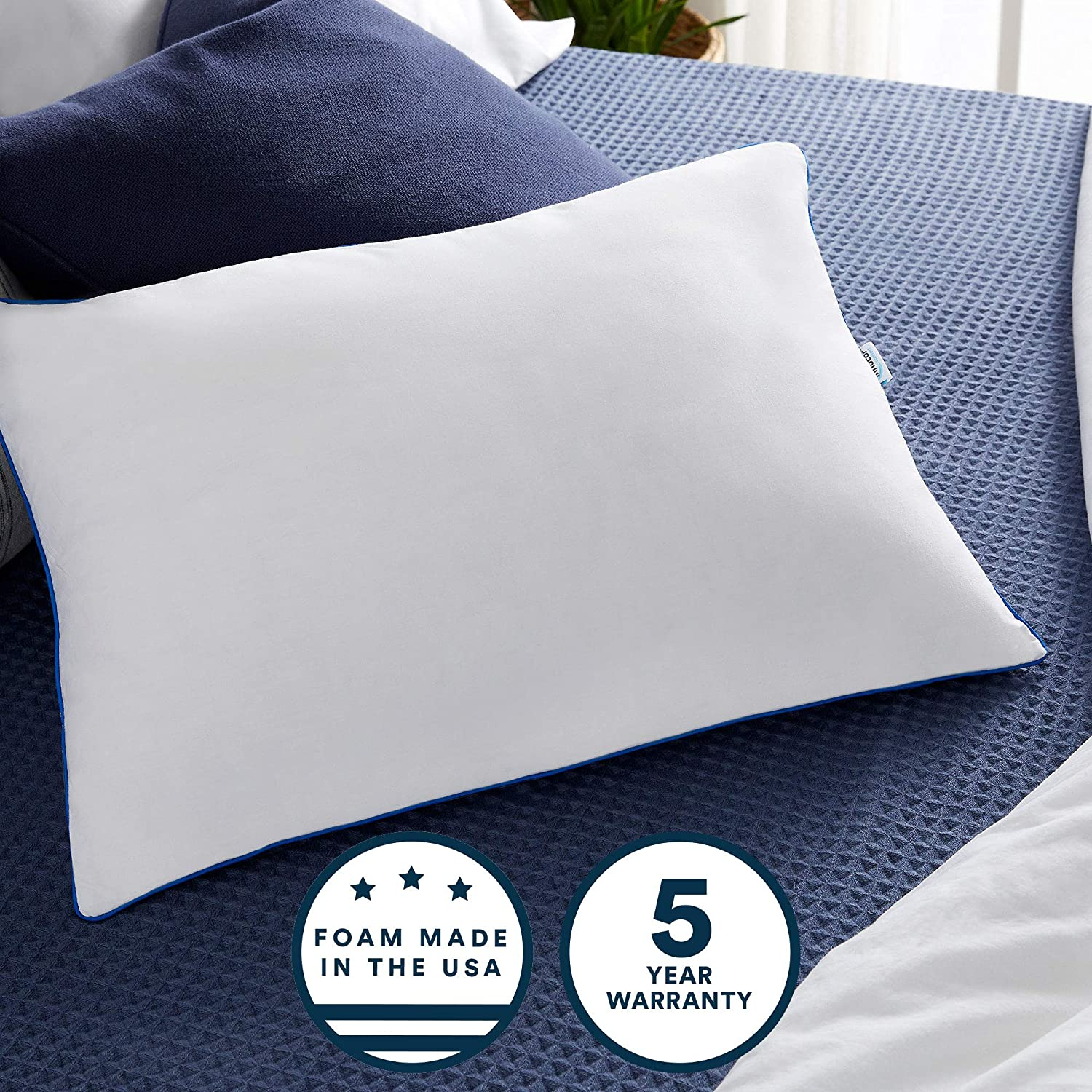 Sleep Innovations 2-in-1 Ventilated Gel Memory Foam Standard Pillow with Down Alternative Fiber Fill and Cotton Cover, Made in The USA with a 5-Year Warranty