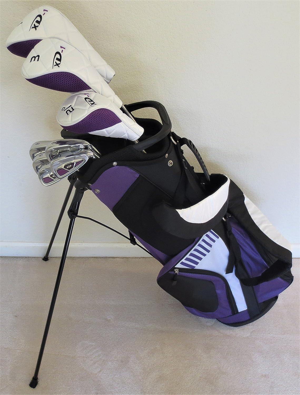 TallレディースゴルフセットカスタムMade for Ladies 5 ft-7in to 6 ft-1in TallテイラーフィットCompleteドライバフェアウェイウッド、ハイブリッド、アイアン、パター、クラブ、&スタンドバッグ B076666S38