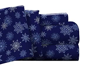 Pointehaven Flannel Deep Pocket Set with Oversized Flat Sheet, Twin, Snow Flakes Navy