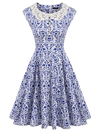 e567797c71b ACEVOG Vintage 1950s Retro Sleeveless Party Cocktail Rockabilly Floral  Print Swing Skater Dresses