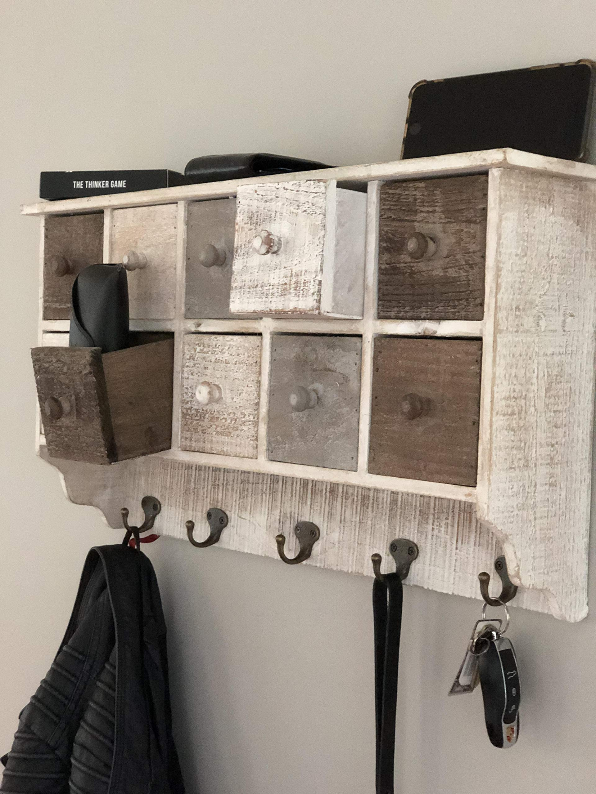 """Avignon Home Country Rustic White Brown Wood Wall Organizer Shelf Rack/Wall Cabinet w/Drawers & Metal Hooks Key Hook - DIMENSIONS: 22.5"""" wide, 13"""" high, 5"""" deep. 10 sliding cube drawers each measuring 3.5""""x3.5"""" 6 key hooks which can also be used to hang coats or jackets or hats as an entryway organizer - wall-shelves, living-room-furniture, living-room - 91xVLoYx1BL -"""