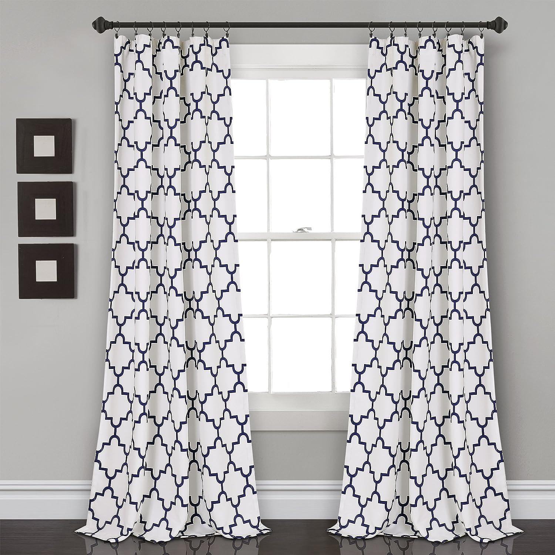 "Lush Decor, Navy Bellagio Room Darkening Curtains-Trellis Geometric Design Window Panel Drapes Set for Living, Dining, Bedroom (Pair), 108"" x 52 108"" x 52"""