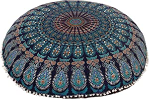 "Shubhlaxmifashion 32"" Blue Mandala Floor Pillow Cushion Seating Throw Cover Hippie Decorative Bohemian Ottoman Poufs, Pom Pom Pillow Cases,Boho Indian"