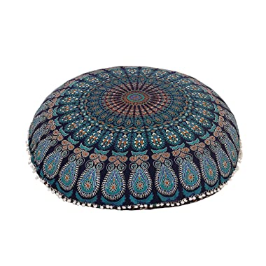 Shubhlaxmifashion 32  Blue Mandala Floor Pillow Cushion Seating Throw Cover Hippie Decorative Bohemian Ottoman Poufs, Pom Pom Pillow Cases,Boho Indian