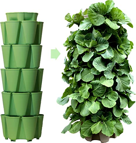 Greenstalk Huge 5 Tier Vertical Garden Planter with Patented Internal Watering System Great for Growing a Variety of Strawberries, Vegetables, Herbs, Flowers (Luscious Green)
