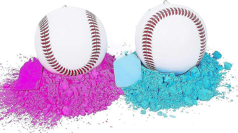 Pack de 2 bolas de béisbol para mujer, rosa y azul, Sex Reveal Party. (1 rosa y 1 bola azul): Amazon.es: Hogar