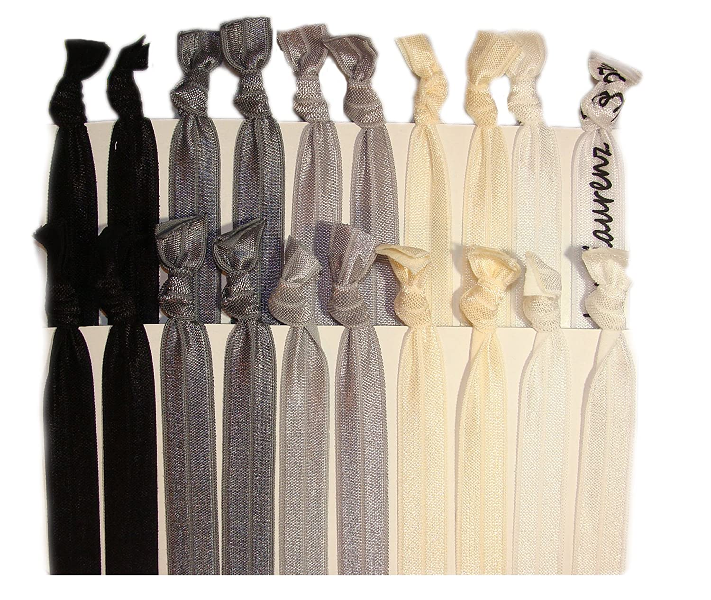 Kenz Laurenz 20 Hair Ties Ponytail Holder, Black Ombre 2412