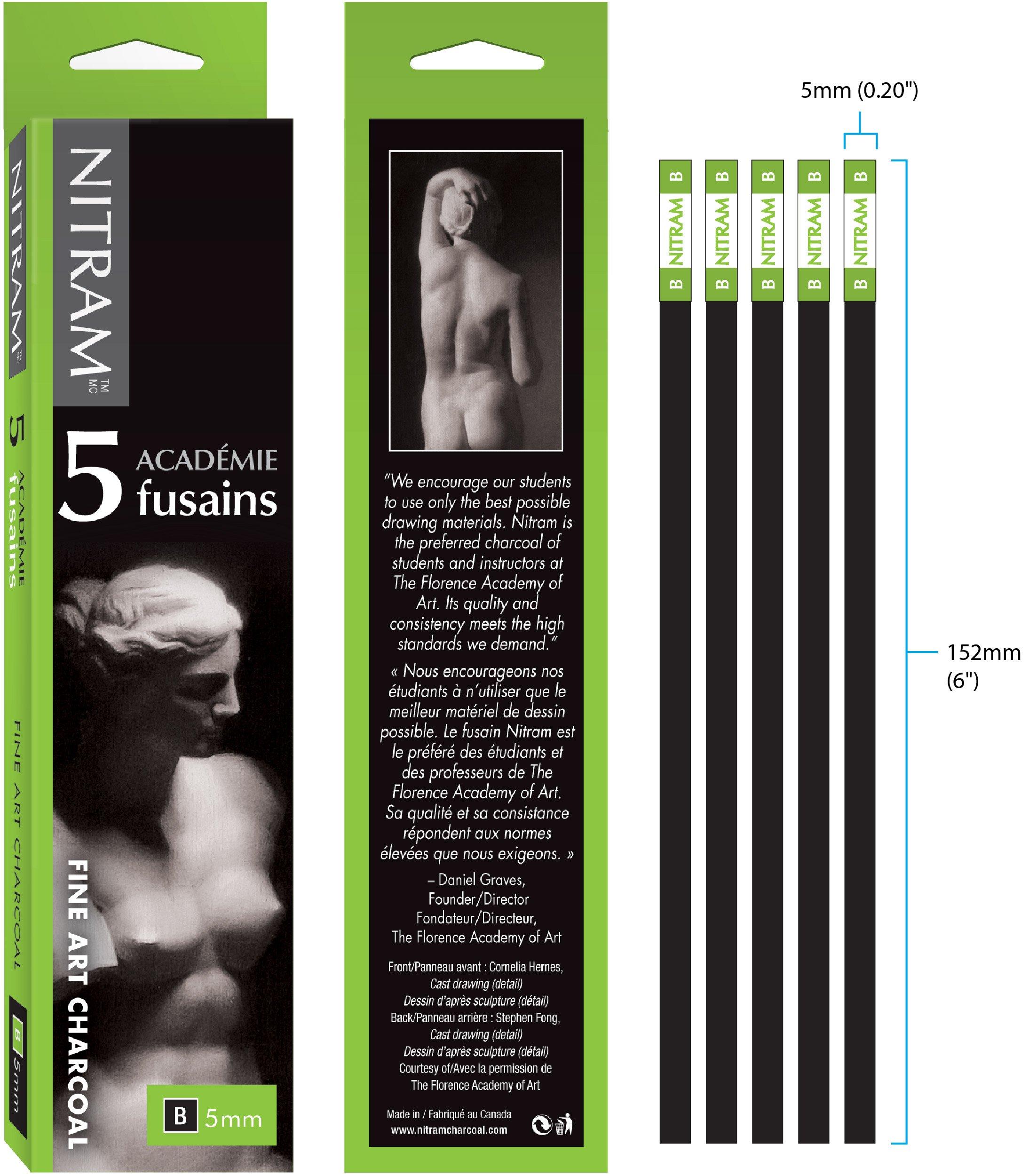 Nitram Fine Art Charcoal B 5pc by Nitram