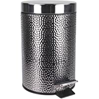 Home Basics Deluxe Hammered Stainless Steel Bathroom Accessories, Office, Bedroom, Decorative 3 Liter Waste Basket