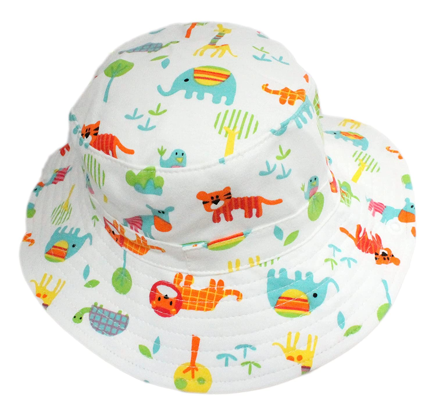 Baby Boy Girl Cotton White Animals Zoo Bucket Cowboy Sun Hat with Chin Strap