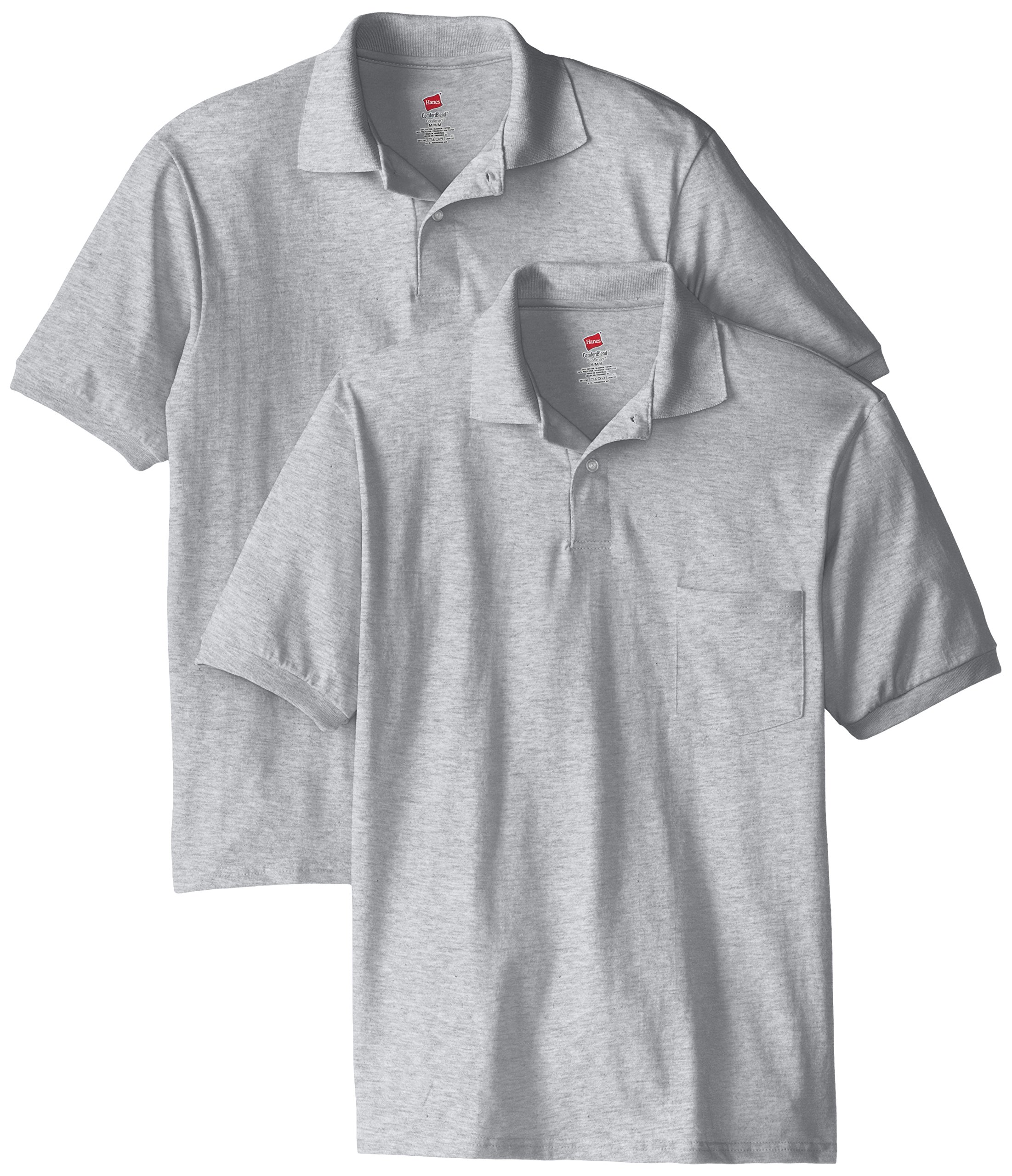 Hanes Men's Short Sleeve Jersey Pocket Polo, Light Steel, 3X-Large (Pack of 2)
