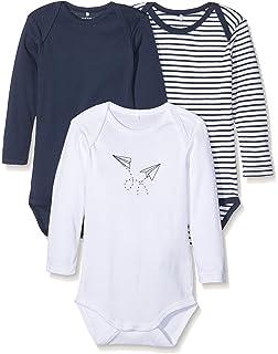 Clothing, Shoes & Accessories Name It 3er Set Body Baby Kinder Mädchen Jungen Bodys Einteiler Langarm Grey