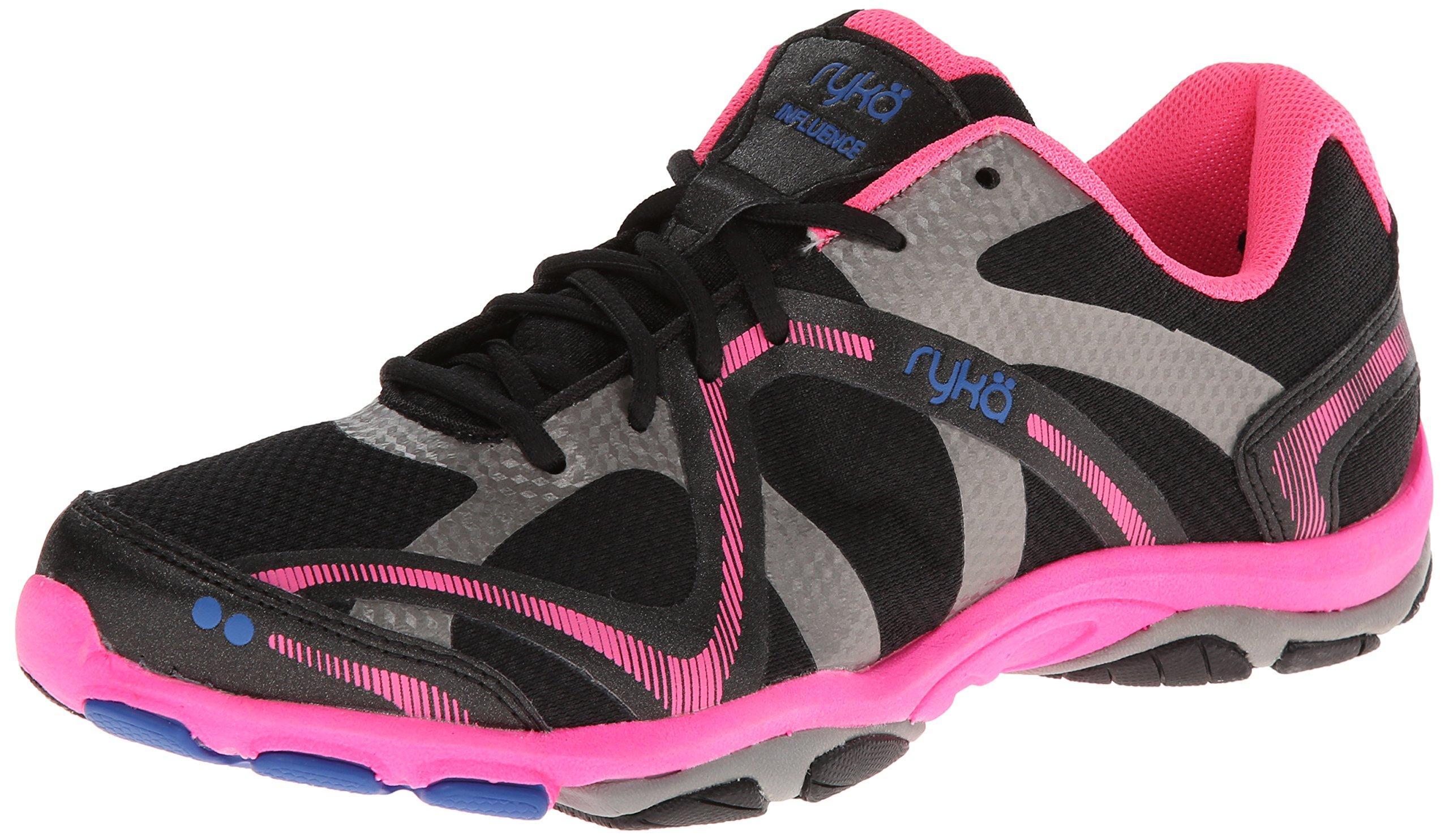 Ryka Women's Influence Training Shoe,Black/Atomic Pink/Royal Blue/Forge Grey,8 M US