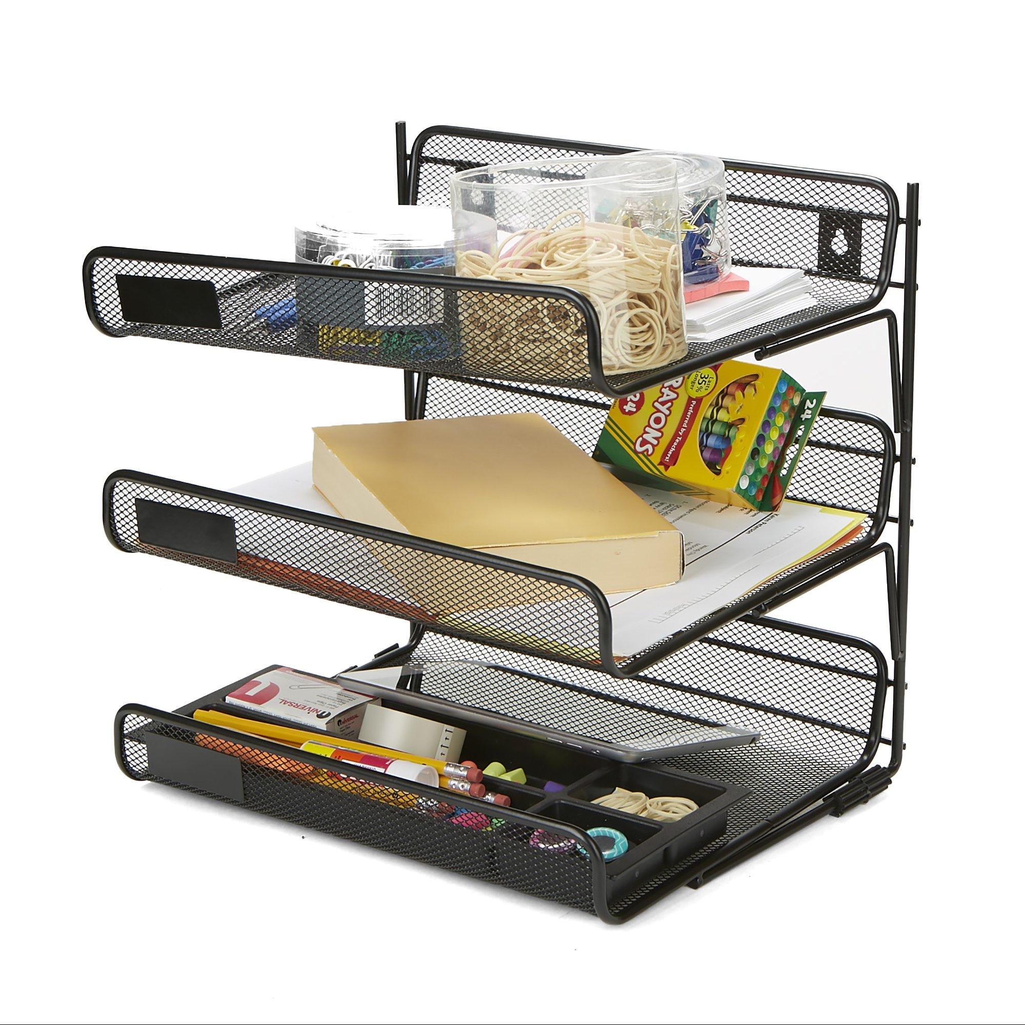 Mind Reader 3TWALP-BLK 3 Tier Wall Mount Paper Tray, Document Paper File Organizer, Metal Mesh, Black