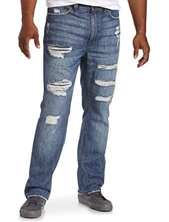 ea5afe182a4 True Nation by DXL Big and Tall Deakin Distressed Athletic-Fit Stretch Jeans  at Amazon Men s Clothing store