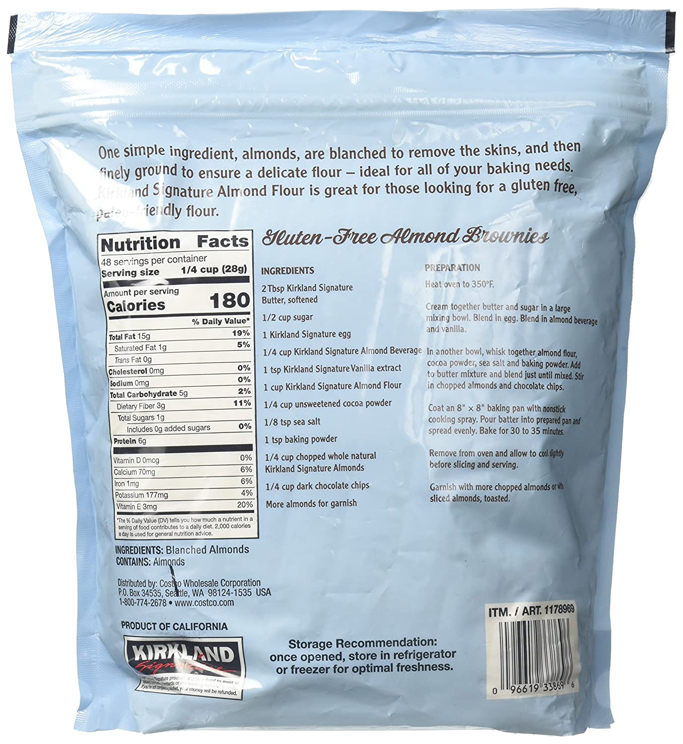 Amazon Com Kirkland Signature Almond Flour Blanched California Superfine 3 Pound Pack Of 1 Grocery Gourmet Food