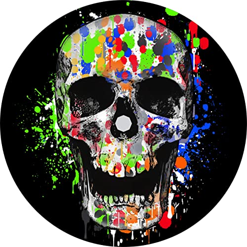 TIRE COVER CENTRAL Splatter Skull Spare Tire Cover Select tire Size Back up Camera Option in MENU Custom Sized to Any Make Model 255 75r17 Backup Camera