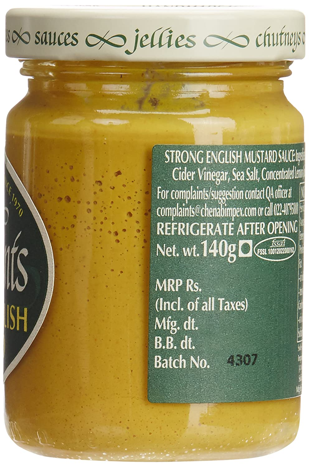 Amazon.com : Tracklements Strong English Mustard (140g) : Grocery & Gourmet Food