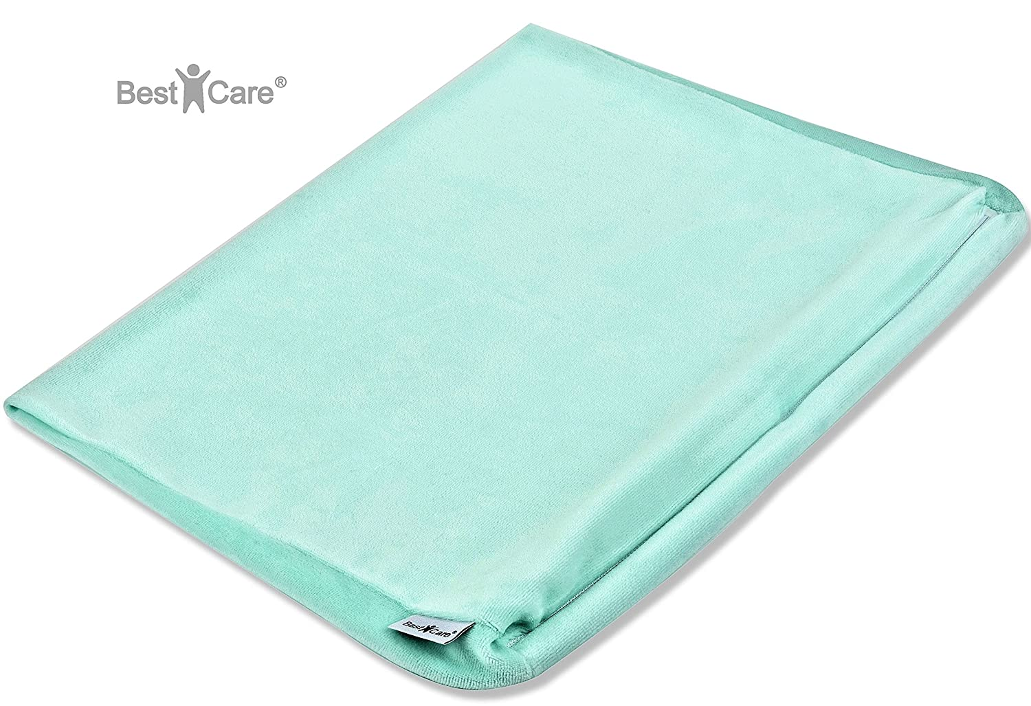 BestCare - Made in The EU, Cover for Baby Pillow, fits Many Common Models - in Four Sizes and Two Colors, Pillow Cover for Wedge Pillow, Anti-Reflux Pillow, Pillowcase:Mint, Size:70x36 cm (Maxi)