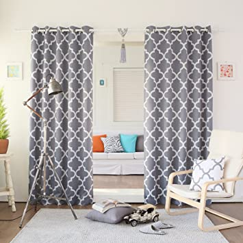 Amazon Best Home Fashion Room Darkening Blackout Moroccan Print Curtains Antique Bronze Grommet Top Grey 52W X 84L Set Of 2 Panels