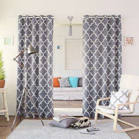 High Quality Best Home Fashion Room Darkening Blackout Moroccan Print Curtains U2013 Antique  Bronze Grommet Top U2013 Grey