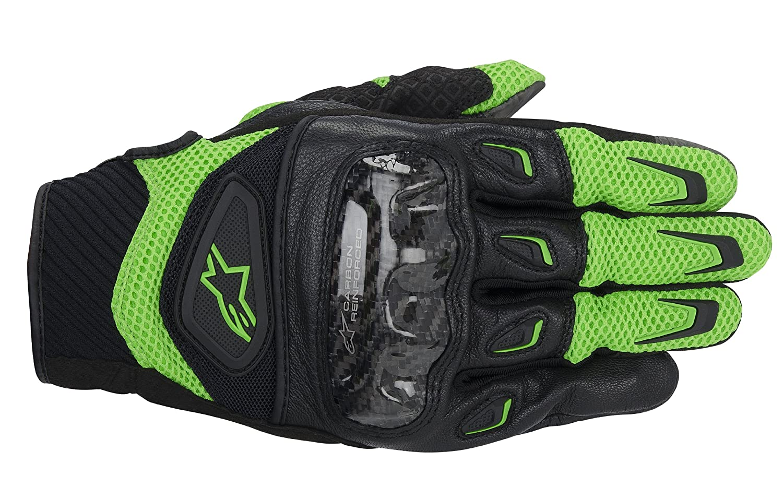 Alpinestars Unisex Adult Gloves Black with Green, 3X 3301-2242