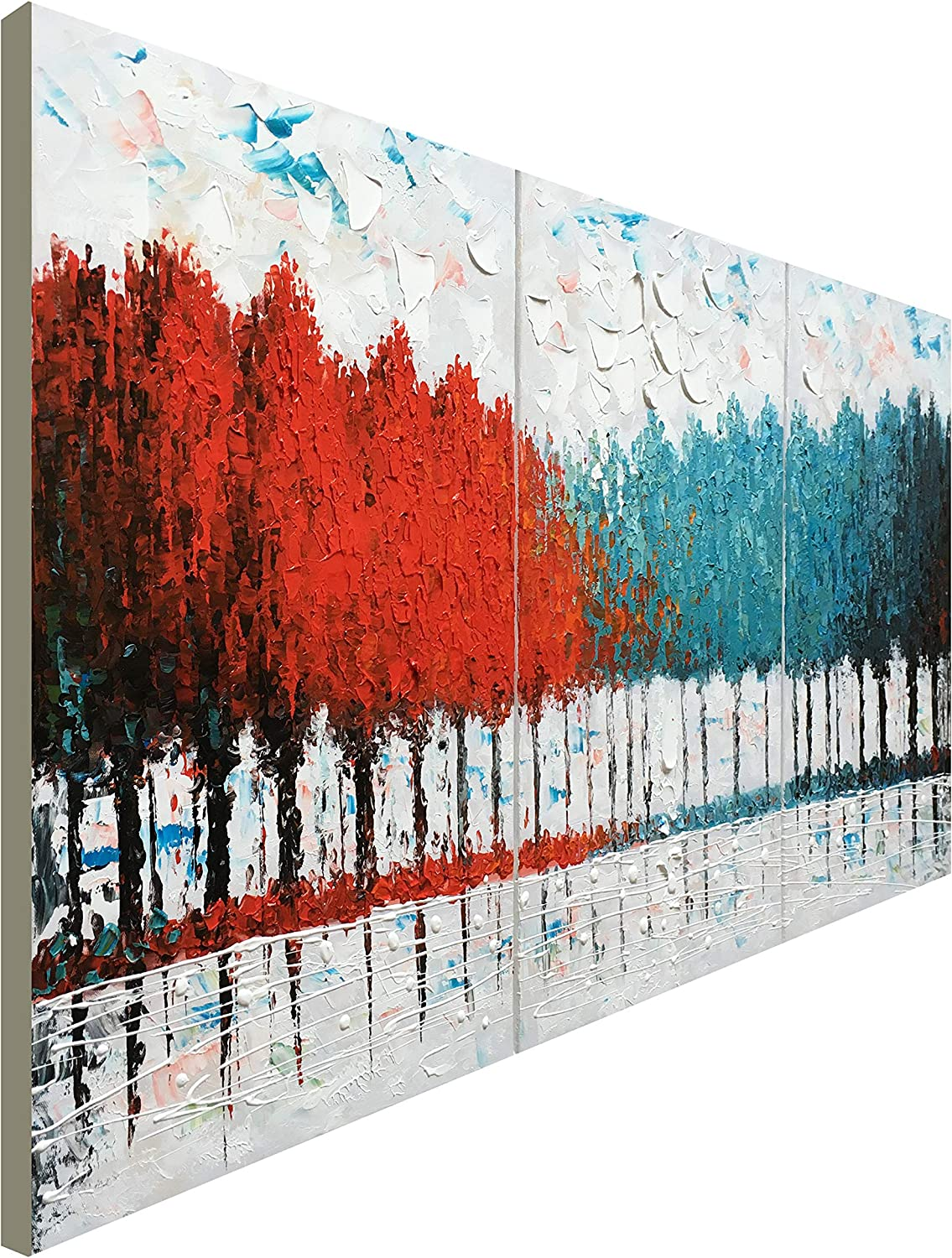 "Hand Painted Turquoise and Red Tree Oil Painting on Canvas Abstract Landscape Wall Art for Decor (48"" W x 24"" H)"