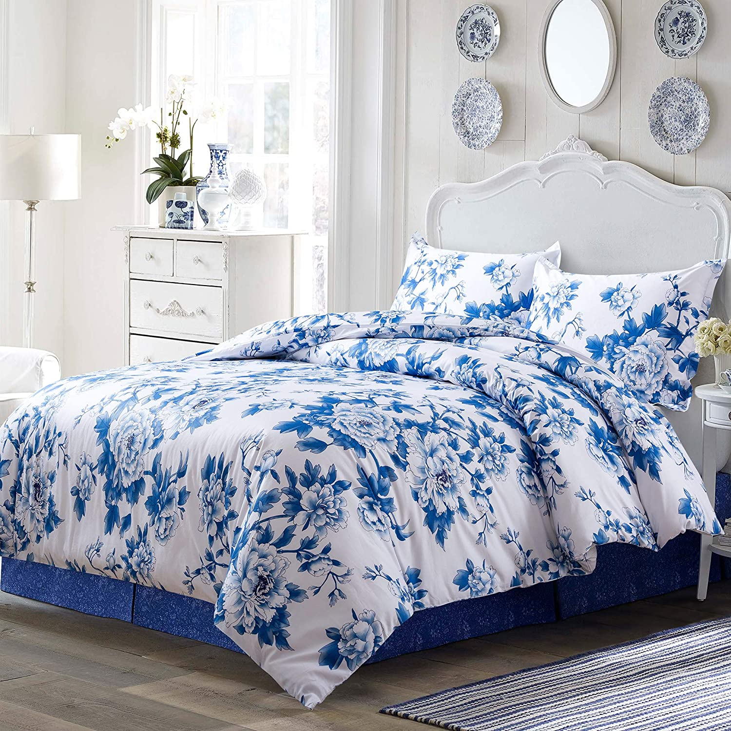 Eikei Shabby Chic Floral Duvet Cover and Pillowcases Set Cottage Garden Botanical Nature Flowers Cabbage Roses Peony Rosy Vines Farmhouse Bedding French Country Style (Porcelain Blue, Queen)