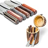 La Cote 6 Piece Multi Use Butter & Cheese Spreader Knives Stainless Steel Blade Pakka Wood Handles (In Pine Wood Mini Barrel)