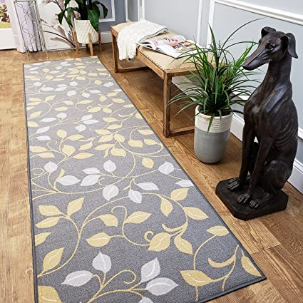 CUSTOM CUT 22-inch Wide by 20-feet Long Runner, Grey Floral Non Slip,  Non-Skid, Rubber Backed Stair, Hallway, Kitchen, Carpet Runner Rug - Choose  your ...