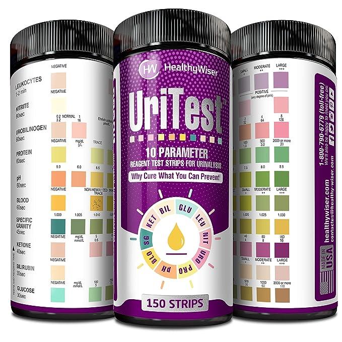 Tiras de 10 parámetros para Análisis de Orina; para Test Bilirrubina, Sangre, Glucosa, Cetonas, Leucocitos, Nitrito, pH, Proteínas y más, para personas con ...