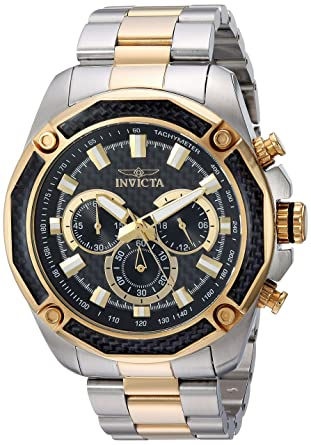 Invicta Mens Aviator Quartz Watch with Stainless-Steel Strap, Two Tone, 24 (