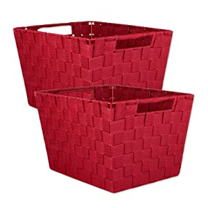 "DII Durable Trapezoid Woven Nylon Storage Bin or Basket for Organizing Your Home, Office, or Closets (Large Basket - 13x15x10"") Red - Set of 2"
