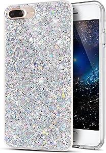 iPhone 8 Plus Case,iPhone 7 Plus Case,ikasus Sparkly Shiny Glitter Bling Powder 3D Diamond Paillette Slim Glitter Flexible Soft Rubber Gel TPU Protective Case Cover for iPhone 8 Plus / 7 Plus,Silver
