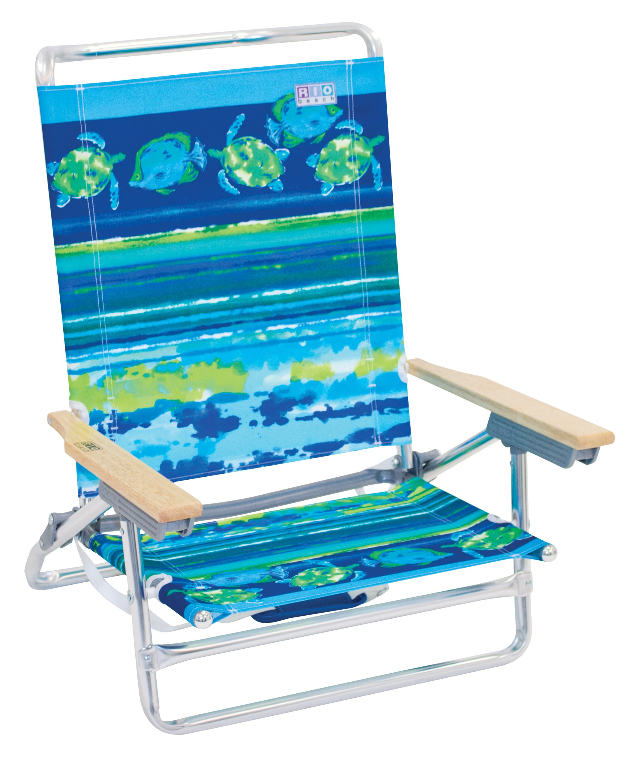 Rio Brands ASC590-807-1 Classic 5 Position Lay Flat Folding Beach Chair, Fish & Turtles by RIO Gear